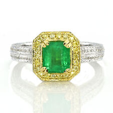Real 1.90ct Natural Green Emerald & Diamonds Engagement Ring 18K Solid Gold