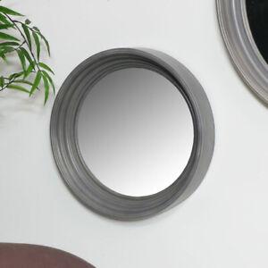 Round grey wall mirror rustic shabby chic living room bathroom home decor gift