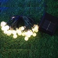 30 LED Solar Garden Light String Fairy Crystal Globe Ball Lighting Warm White