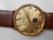 Collectible Vintage Diamond Dial 17J Sandoz Side Sec Mechanical Mens WristWatch