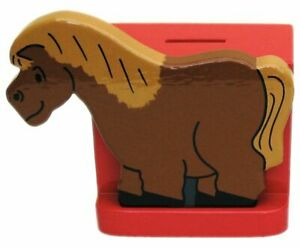 Pony On Red Wooden Money Box - Hand Made In Uk
