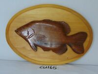 VETERAN MADE WOOD FOLK ART MOUNTED FISH CARVED CRAPPIE CARVING