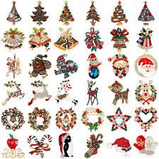 New Crystal Rhinestone Enamel Christmas Tree Elk Snowman Brooch Pin Jewelry Gift