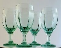 Libbey Chivalry Green Wine Glasses Textured 1980 Vintage Goblets Stemware 6 1/4