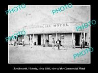 OLD POSTCARD SIZE PHOTO OF BEECHWORTH VICTORIA VIEW OF COMMERCIAL HOTEL 1865