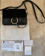 Chloe Small Faye Suede & Leather Black Shoulder Bag