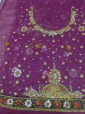 Om Vintage Indian Blouse Piece Net Hand Beaded Purple Fabric B50