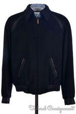 NWT $14,800 ZILLI Blue 100% CASHMERE Leather Trim Jacket Coat - EU 56 / US 46
