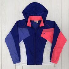 Vintage 90s NIKE Color Block Neon Pink Blue Nylon Windbreaker Jacket Size Large