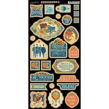 Graphic 45 WORLD'S FAIR 6x12 Sheet of Decorative Chipboard - New