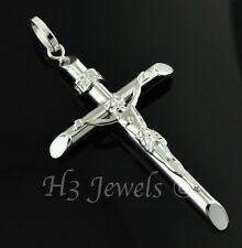 18k solid white gold JESUS CHRIST cross pendant  #2768 h3jewels 2.20 grams