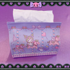 Kuromi Purple PU Tissue Boxes Paper Cover Holder Car Pouch cover girls cute