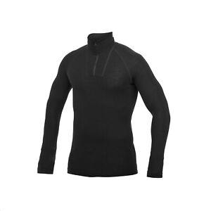 Woolpower Lite Zip Turtleneck Long Sleeve Polo With Merino Wool Black