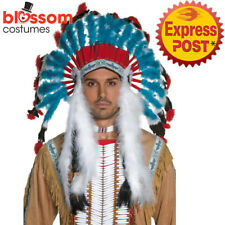 AC63 Authentic Western Native Indian Chief Feather Costume Headdress Bonnet Hat