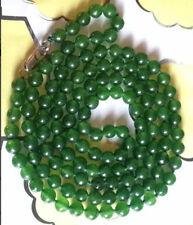 "NEW Dark Green 6mm Emerald Roundel Beads Necklace 35""AAA+K"