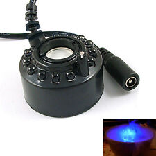 Mist Maker Ultrasonic Fog Mister Hydroponics Fountain Pond Machine Black LED