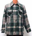 vtg Woolrich GREEN GRAY PLAID WOOL SHIRT-JAC MED Fit 70s twill tweed jacket M