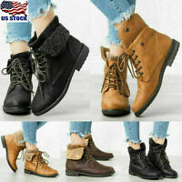 Womens Fur Lined Lace Up Ankle Biker Boots Ladies Winter Warm Combat Boots Shoes
