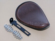 Brown Leather Front Solo Seat W/ Spring Bracket For Harley Chopper Bobber Custom