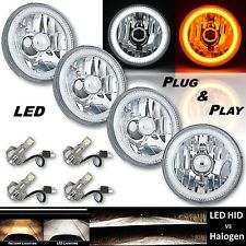 "5-3/4"" Switchback White DRL Angel Eye Halo / Amber Turn Signal LED Headlight Set"