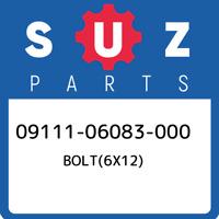 09111-06083-000 Suzuki Bolt(6x12) 0911106083000, New Genuine OEM Part