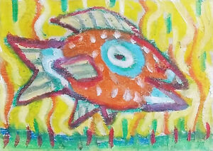 Parrot Island Fish ACEO ORIGINAL Pop Folk Art Trading Card ATC by Artist KSAMS