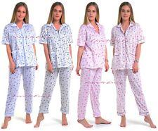 Ladies Womens 100% Cotton Printed Winter Warm Woven Cosy Nightwear Pyjama PJ Set