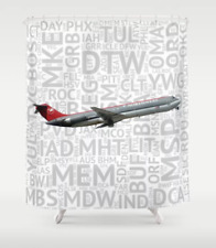 Northwest Airlines DC-9 with Airport Codes - Shower Curtain