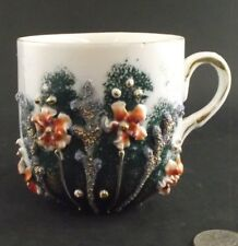 WHITE AND GREEN FLORAL WITH GOLD GILT ANTIQUE MUSTACHE  CUP GERMANY ?