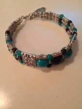 Women's Fashion Bracelet. Turquoise And Silver Indian Inspired Design