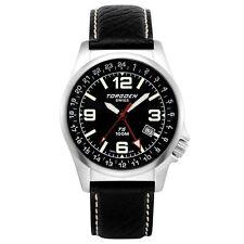 New Torgoen T5 T05101 Mens Chronograph GMT Analog Pilot Watch Blk Leather Strap