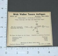 1967 Brick Walker Tavern Antiques Brooklyn Michigan Green Vintage Print Ad