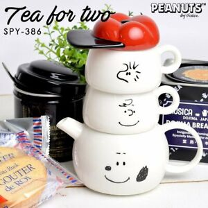 "Peanuts SNOOPY "" Tea for Two "" Set Charlie Brown Woodstock Tea Pot & Cups Japan"