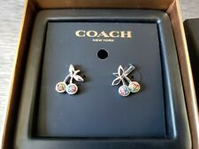 COACH Cherry Earrings F67102 Multi-Silver rhinestone crystals 2558 new in box
