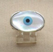 "Handcrafted Blue Evil Eye  "" Amulet ""Sterling Silver 925 Ring skaisJN16"