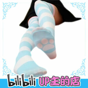 Cute Cat Paw Blue & Pink Striped Women's Kawaii Over-knee Thigh High Stockings
