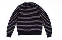 Mens J Crew Blue Cotton Wool Crewneck Sweater In Stripe Size L Large