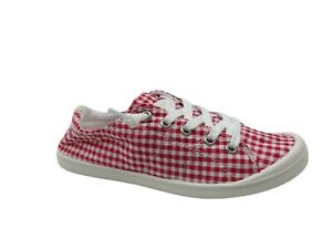 Rosy Tattoo Horse Red White Gingham Slip On Sneakers Size 6 US Women's