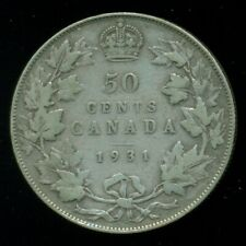 1931 King George V, Canada Silver 50 Cent Piece,  L41