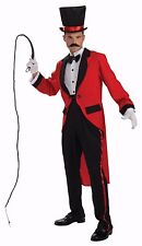 Mens Ring Master Costume Ringmaster Halloween Outfit Red Tailcoat Lion Tamer NEW