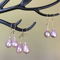 Baroque Kasumi pearl 100%Natural Purple 14K Gold Filled earring Original works73