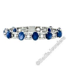 Platinum 43.57ctw Burma No Heat Cabochon Star Sapphire & Diamond Tennis Bracelet
