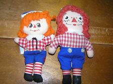 Vintage Pair of Small Knickerbocker Raggedy Andy & Hallmark Ann Soft Fabric Doll