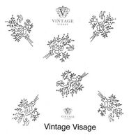 Vintage Visage iron on embroidery transfer- tiny flower bouquet sprays 2 sheets