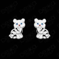 Genuine 925 Sterling Silver Kitten Cat Stud Earrings Girl Children Women Men