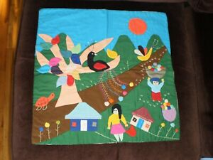 HAND EMBROIDERED LOCAL FABRIC SIGNED MADE IN CHILE 100% COTTON EXCELLENT COND.