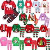 Baby Kids Boys Girls Long Sleeve Christmas Pyjamas Pj's Set Nightwear Sleepwear