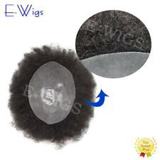 Afro Curly 10X8 Black Mens Toupee Full Poly NAfrican American Human Hair System
