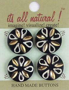 Handmade Natural Bone Buttons - Black/White 26mm Brass Inlay Leaves Flower