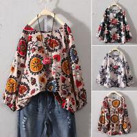 Womens Casual Plus Size Cotton Tops T Shirt Vintage Boho Floral Loose Blouse P